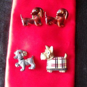 4 Dog Brooches